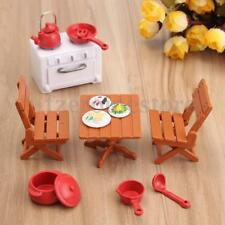 Dining Table with 4 chairs Set Miniature DollHouse Furniture Kids Kitchen Toy
