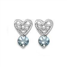 EXQUSITE 0,50 Carat Aquamarine Heart Ear Studs, 925 Silver, Earring