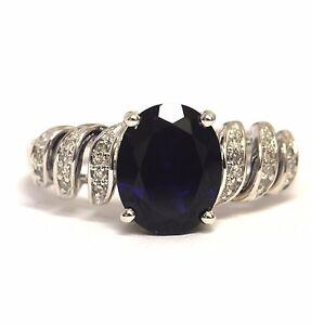925 Sterling Silver .08ct VS G diamond created sapphire ladies ring 4.6g womens