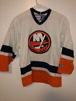 NHL New York Islanders Hockey Sewn Jersey Youth Boys L XL CCM Vintage White