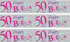 50TH BIRTHDAY/ AGE 50 PINK AND SILVER GIANT FOIL BANNER (EW)