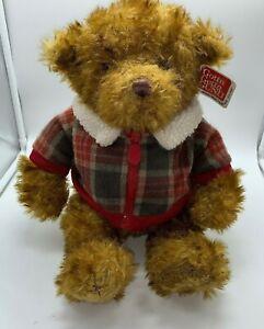 """GUND TEDDY BEAR HAGEN 13"""" 88986 PLAID JACKET & SWEATER RETIRED  NEW W/EAR TAG"""