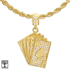 """Men's Hip Hop Gold Plated Iced Poker Cards Pendant 24"""" Chain Necklace HC 1173 G"""