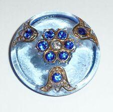 Wonderful Lg Czech Glass & Rhinestones Flower Shank Button - 32mm  Blue & Gold
