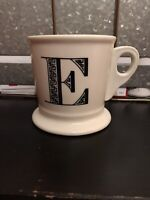 Anthropologie Monogram Alphabet Letter Initial Shaving Style Mug White Black E