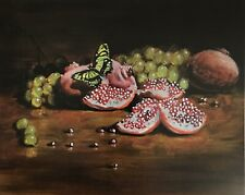 Print Of Painting Pomegranate Butterfly Grapes food art artwork From Artist USA