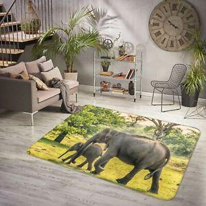 3D Forest Elephant Baby I458 Animal Non Slip Rug Mat Round Elegant Carpet Honey
