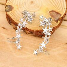 2 Pcs 1 Pair Silver Clip On Earrings Diamante Rhinestone Ear Cuff Stud Star Glam