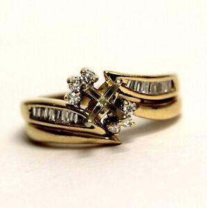 14k yellow gold .18ct diamond semi mount engagement ring & wrap 5.7g