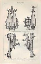 Litografía 1908: pulsometer. dos-sala-membrana-pulsometer de Haußmann