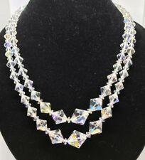 Art Deco Aurora Borealis Necklace Double Strand Costume Holiday Party Jewelry