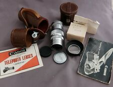 Vintage Canon Serenar 135mm f4 lens Leica thread mount in case + finder + papers