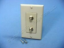 Leviton Gray Decora DUAL CATV Coaxial Cable Jack Flush Wallplate Duplex 40682-GY