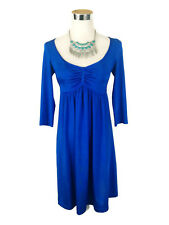 LEONA EDMISTON Frocks Dress- Mid Blue Babydoll Scoop Empire 3/4 Stretch - XS/6/8