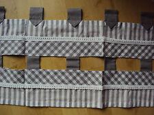 1 Kurzgardine Scheibengardine Panneaux B/H 120 x 38 Schlaufen grau weiß kariert