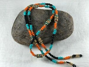 """VALLEY OF THE SUN 27"""" Beaded Eyeglass Chain in Orange, Turquoise & Black  USA"""