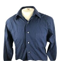 Calvin Klein Mens Blue Long Sleeve Striped Button Front Shirt Size Large A13