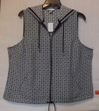 CJ Banks Size 2X Geo floral print hooded vest, zip front, black & white NWT