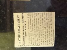 M3-9a ephemera 1941 dagenham article ww2 cricket mayfield old boys v westbury so