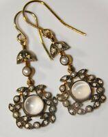Superb, Antique / Vintage 9ct Gold Moonstone, Pearl & Diamond Pendant Earrings
