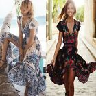 Sexy Women's Summer Chiffon Boho Bohemian Long Maxi Dress Beach Dresses Sundress