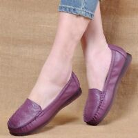 New Casual Women's Mom Leather Flats Loafers Slippers Moccasins Slip On Shoes