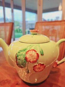 Large Carlton Ware Green 'Primula' Wild Rose Teapot c1939