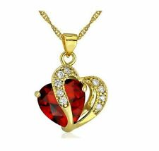 Women's Peach Heart red Zircon Gold Plated Chain Pendant Necklace Jewelry