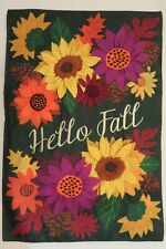 """Hello Fall"" Autumn Flowers on Green, Sunflowers applique decorative Garden flag"