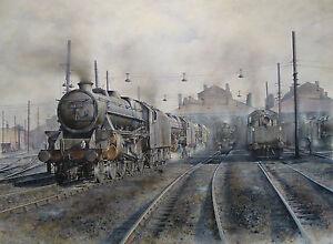 Black 5 Railway Steam Train Print (Willesden) - Painting by Artist James Green