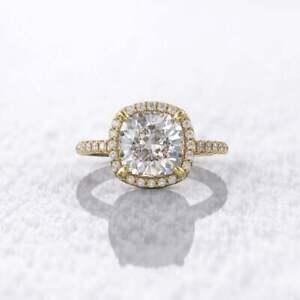 7 mm cushion halo round cut 1.5 mm thin band wedding ring 14 carat yellow gold