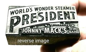 The President Streckfus Steamers St. Louis Mo. Antique Printers wood Block, WOW!