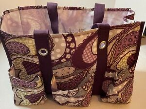 Florida Grandma Canvas 7 pocket craft satchel carryall 2 handle bag purple green