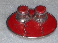 Vintage Art Deco? Aluminum Ink-Stand With 2 Inkwells And Pen Holder, Germany