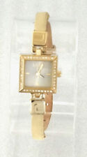 Fcuk Time F2V323 Gold Tone Case Crystal Bezel Genuine Leather Band Women's Watch