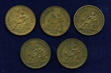 FRANCE REPUBLIC 2 FRANCS COINS: 1921, 1922, 1923, 1924, 1925, GROUP LOT OF (10)