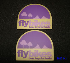 """2 AUTHENTIC FLY BIKES """"BMX TOYS FOR TRAILS"""" FRAME STICKERS #22 / DECALS"""
