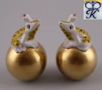 9944072 Kämmer Porzellan Streuer Frosch auf goldener Kugel gelb H8,5cm