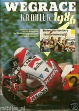 WEGRACE KRONIEK 1986,COVER LAWSON YAMAHA,LAVADO,PONS,CORNU,SARRON, MOTO GP