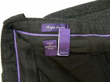 Ralph Lauren Purple Label • Gray Heavy Flannel 100% Wool • Flat Front Pants • 34
