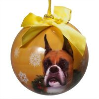 Boxer Cropped Christmas Ball Ornament