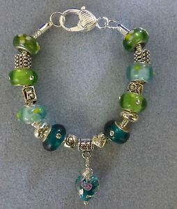 *Handmade Luxury Green Chunky Glass Lampwork Beaded Charm Bracelet- Great Gift*