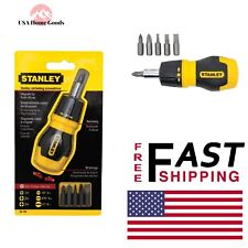 STANLEY Ratcheting Screw Driver Stubby 6-Bit Philipps Hand Tool New Bits Compact
