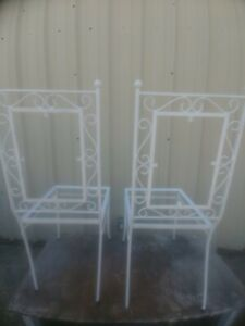 Pair of vintage Wrought Iron Heavy Patio Chair Metal Seating Garden Furniture