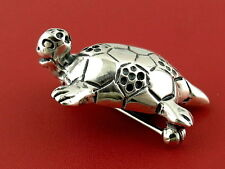 """1.25"""" MEXICO STERLING SILVER 925 FUNNY TURTLE ANIMAL 3D VINTAGE PIN BROOCH"""