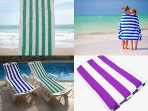 100% Egyptian Cotton Striped Pool Towels Super Soft Luxury Holiday Beach Towels