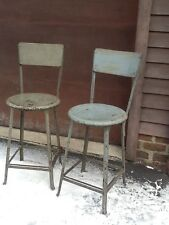 "2 Vtg Industrial Wood / Heavy Metal Same Stools -15 "" Round Seats - Very Good"