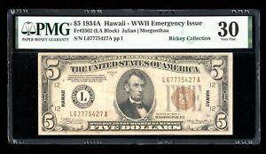 DBR 1934-A $5 FRN Hawaii Fr. 2302 PMG 30 Serial L67775427A