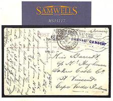 MS3117 1915 WW1 British NAVAL CENSOR *Cape Verde Islands* Postcard TELEGRAM Co