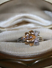 Vintage? Calla Lily flower 14k Rose/Yellow Gold vermeil/Sterling silver Ring